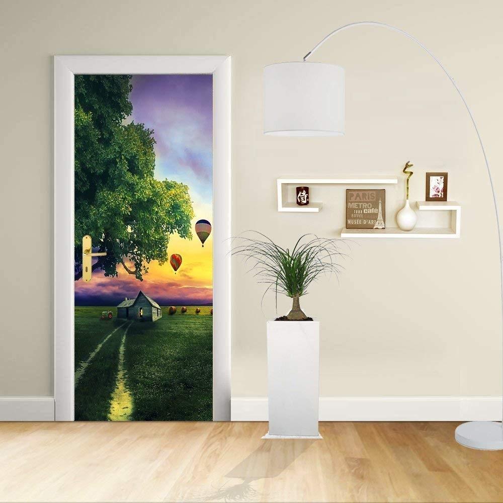Adhésif de porte design maison de ferme dans la campagne avec un arbre et des ballons à air chaud la relaxation la
