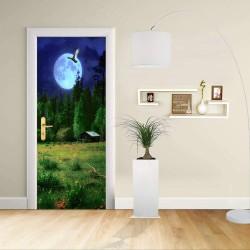 Adesivo Design porta - PAESAGGIO NOTTURNO - Decorazione adesiva per porte arredo casa -