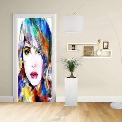 Adesivo Design porta - Donna schizzo Artistico colori vivaci - Decorazione adesiva per porte arredo casa -