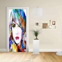 Adhesive door Design - Woman sketch Art vibrant colors - Decoration-adhesive for doors home furniture -