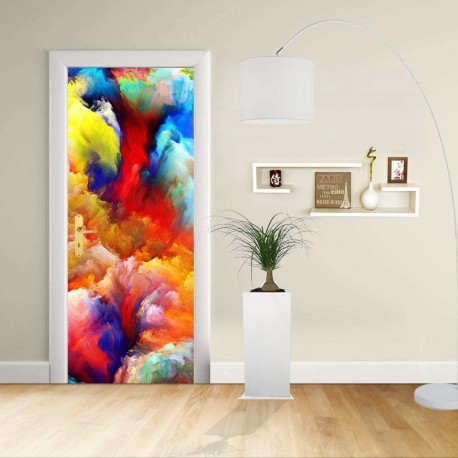 Adhesive door Design - Abstract Design bright colors 2 - Decoration, adhesive for doors home furniture -