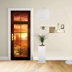 Sticker Design - porte - FENÊTRE AU COUCHER de soleil de Décoration adhésif pour portes de meubles de maison -