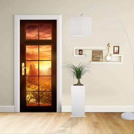 Sticker Design - door- WINDOW AT the SUNSET - Decoration adhesive for doors home furniture -