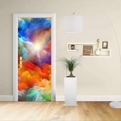 Adhésif de porte Design - Conception Abstraite de couleurs vives - Décoration-adhésif pour portes de meubles de maison -