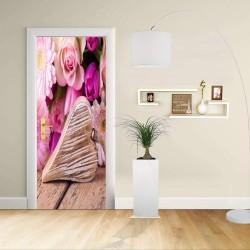 Adesivo Design porta - CUORE CON FIORI - Decorazione adesiva per porte arredo casa -