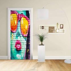 Adesivo Design porta - RAGAZZA MATTONI POP - Decorazione adesiva per porte arredo casa -