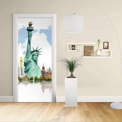 Adesivo Design porta - New York Statua della libertà e altri monumenti - Decorazione adesiva per porte arredo casa -