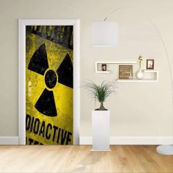 Adesivo Design porta - Attezione Radioattivo - Warning Radioactive - Decorazione adesiva per porte arredo casa -