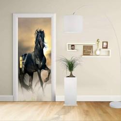 Adesivo Design porta - Cavallo purosangue puledro nero Stallone - Decorazione adesiva per porte arredo casa -