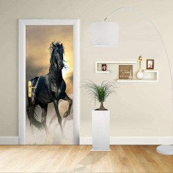 Adhesive door Design - thoroughbred Horse foal black Stallion - Decoration adhesive for doors home furniture -