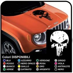 sticker de capot JEEP Renegade et autres hors-route Crâne effet usé Crâne Punisher en détresse SUV 4X4