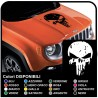 sticker for bonnet JEEP Renegade and other off-road Skull worn effect Skull Punisher distressed SUV 4X4
