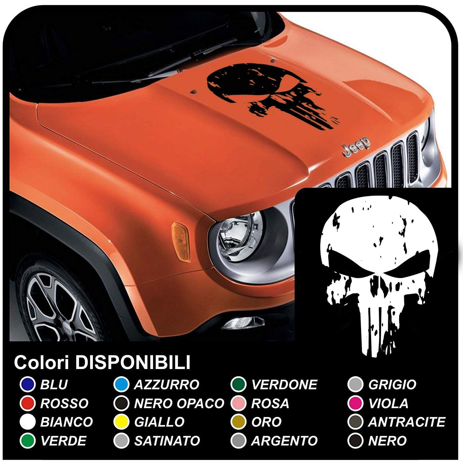 Sticker for bonnet jeep renegade and other off road skull worn effect skull punisher distressed suv 4x4 jpg
