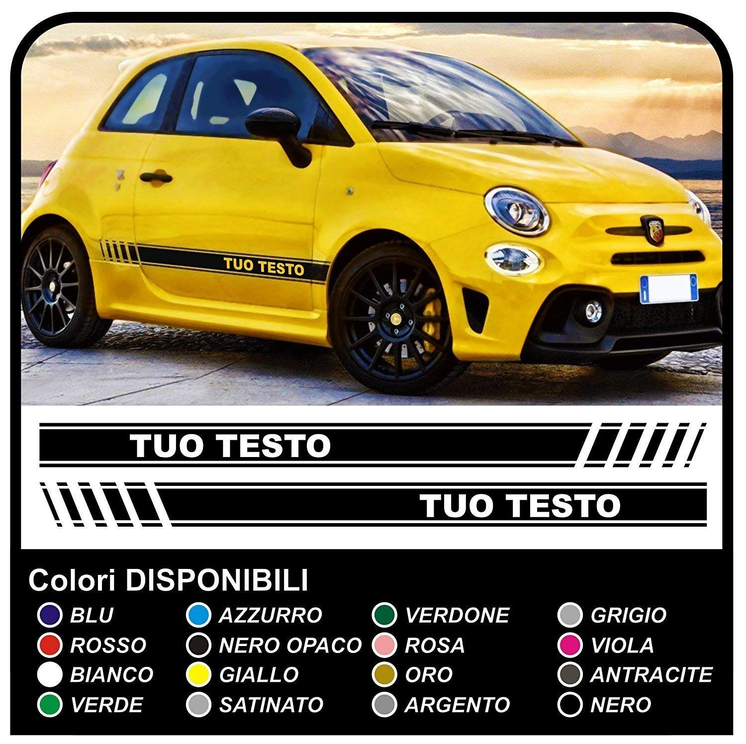 Stickers Lateral Side Strips For The New Fiat 500 Tuning Fiat 500 Abarth New Fiat 500