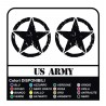 2 Stickers - Star Military US ARMY 18 cm x 18 cm US ARMY Jeep renegade Suzuki jeep land rover 4X4 - worn effect