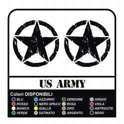 2 Stickers - Star Military US ARMY cm 16x16 US ARMY Jeep renegade Suzuki jeep land rover 4X4 - worn effect