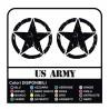 2 Stickers - Star Military US ARMY cm 16x16 US ARMY Jeep renegade Suzuki jeep land rover 4X4 - worn effect