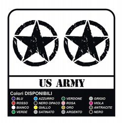 3 Stickers - Star Military US ARMY cm 32 US ARMY Jeep renegade Suzuki jeep land rover 4X4 - worn effect