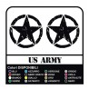 3 Stickers - Star Military US ARMY cm 32 US ARMY Jeep renegade Suzuki jeep land rover 4X4 - worn effect