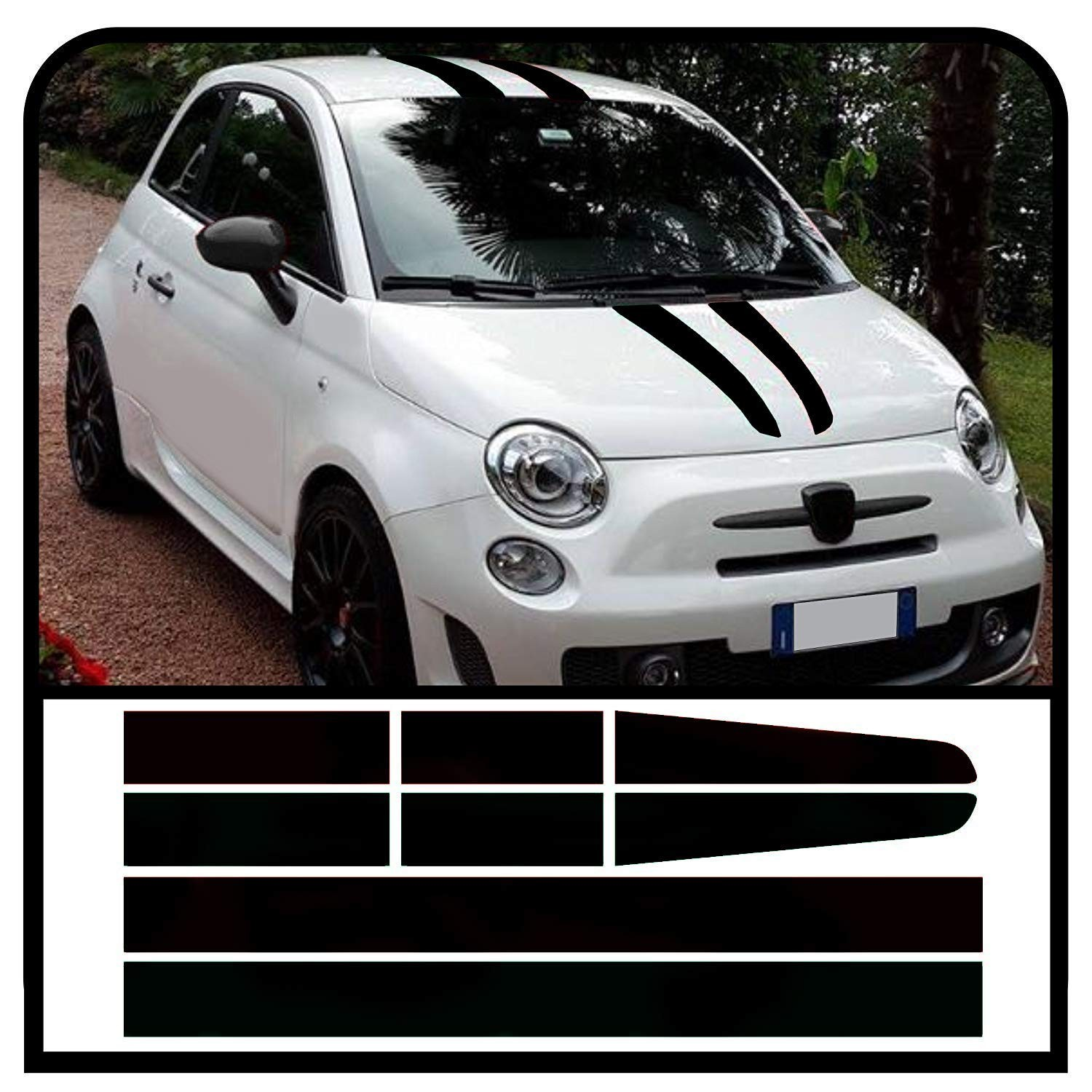 Adhesive strips bonnet roof and boot lid assetto corse for fiat 500 stickers decal abarth jpg