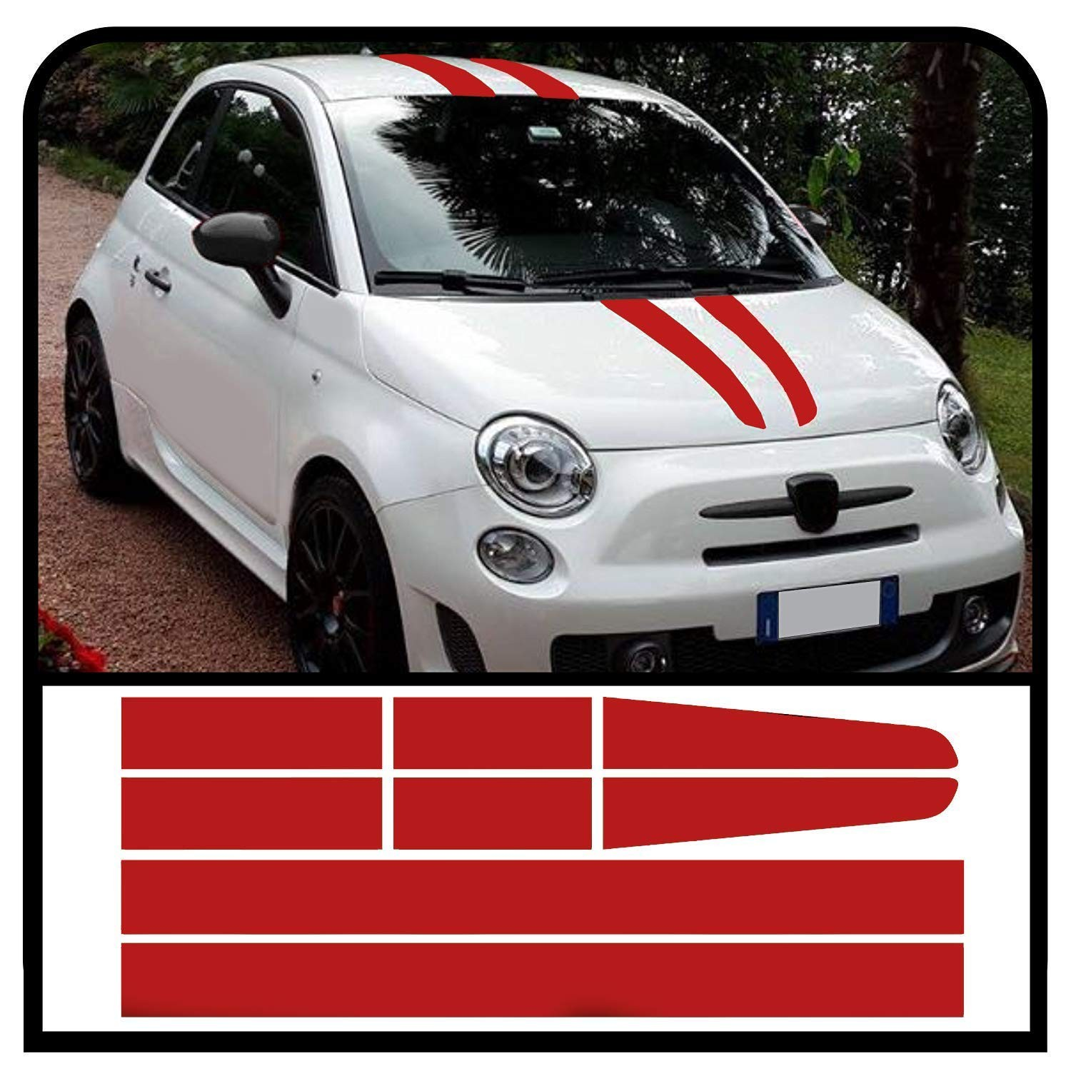 Adhesive Strips Bonnet Roof And Boot Lid Assetto Corse For Fiat 500 Stickers Decal Abarth