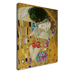 The framework Klimt - The Kiss 2 - KLIMT The Kiss (Lovers) Painting print on canvas with or without frame