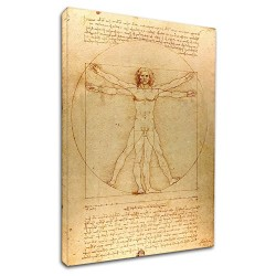 The framework Leonardo Da Vinci - The Vitruvian man - Leonardo - Painting print on canvas with or without frame