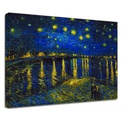 Quadro Van Gogh - Notte Stellata sul Rodano - Van Gogh Starry Night on Rodano Quadro stampa su tela canvas con o senza telaio