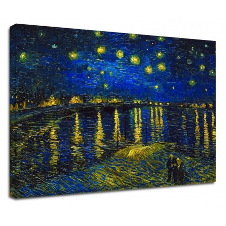 Painting Van Gogh - Starry Night over the Rhone - Van Gogh Starry Night on the Rhone Painting print on canvas with or without