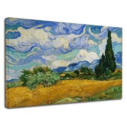 La peinture de Van Gogh - Champ de Blé avec Cyprès Peinture d'impression sur toile avec ou sans cadre