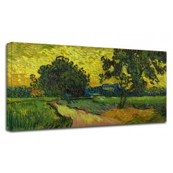 Painting Van Gogh - Landscape at dawn - Picture print on canvas with or without frame