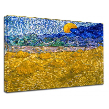Painting Van Gogh - Landscape with sheaves and rising moon - Picture print on canvas with or without frame