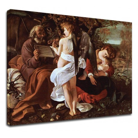 Picture Caravaggio - Rest during the flight into Egypt - Painting-print on canvas with or without frame