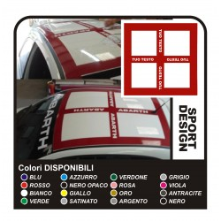 Stickers for FIAT 500 ABARTH or the GREAT point and esseesse ABARTH strips roof sticker decal with TEXT of your choice