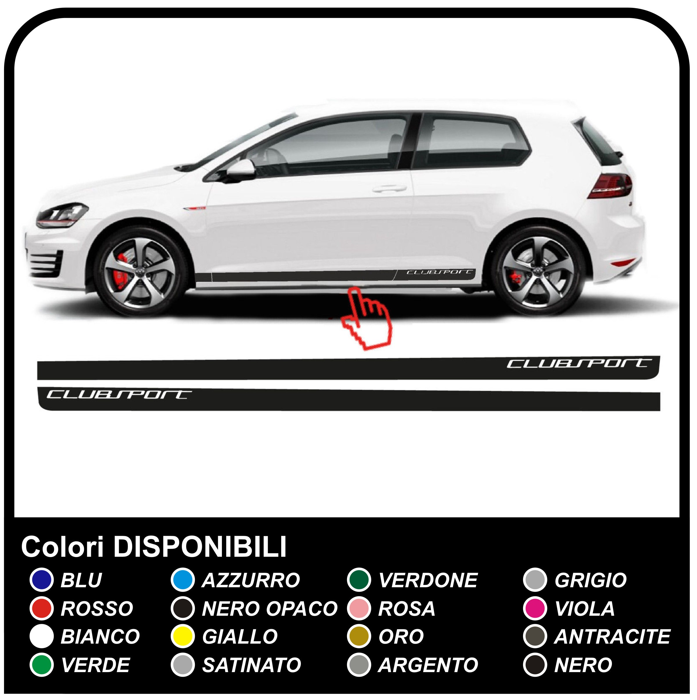 Vw golf v vii gti performance side stripes sticker set 3 5 door golf 5 6 and 7 golf volkswagen jpg