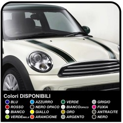 Stickers for mini cooper Stripes bonnet mini Bonnet Stripes strips stickers bonnet, one-color with edges that are separated