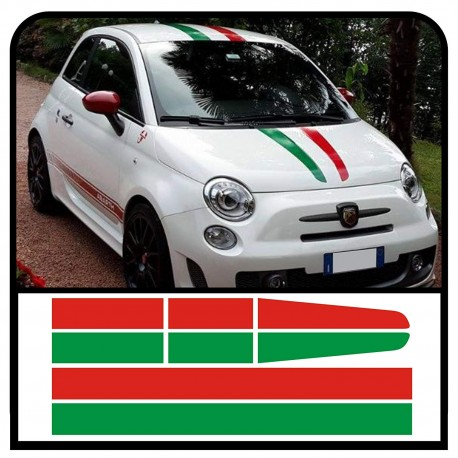 Stickers for FIAT 500 KIT bands Italian flag hood roof and trunk stripes tricolor flag stickers italy