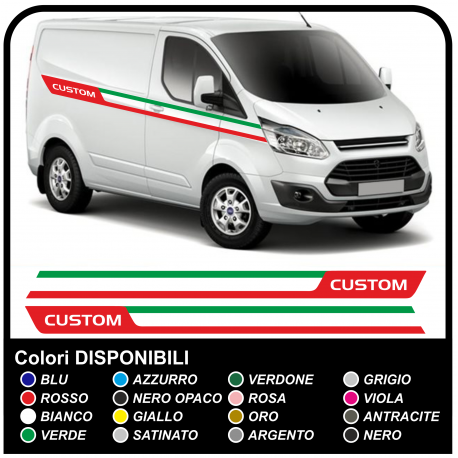 Adhesives TRANSIT M-SPORT Side-Tricolor, Van graphics, van stickers decals stripes ford transit custom turneo Italy