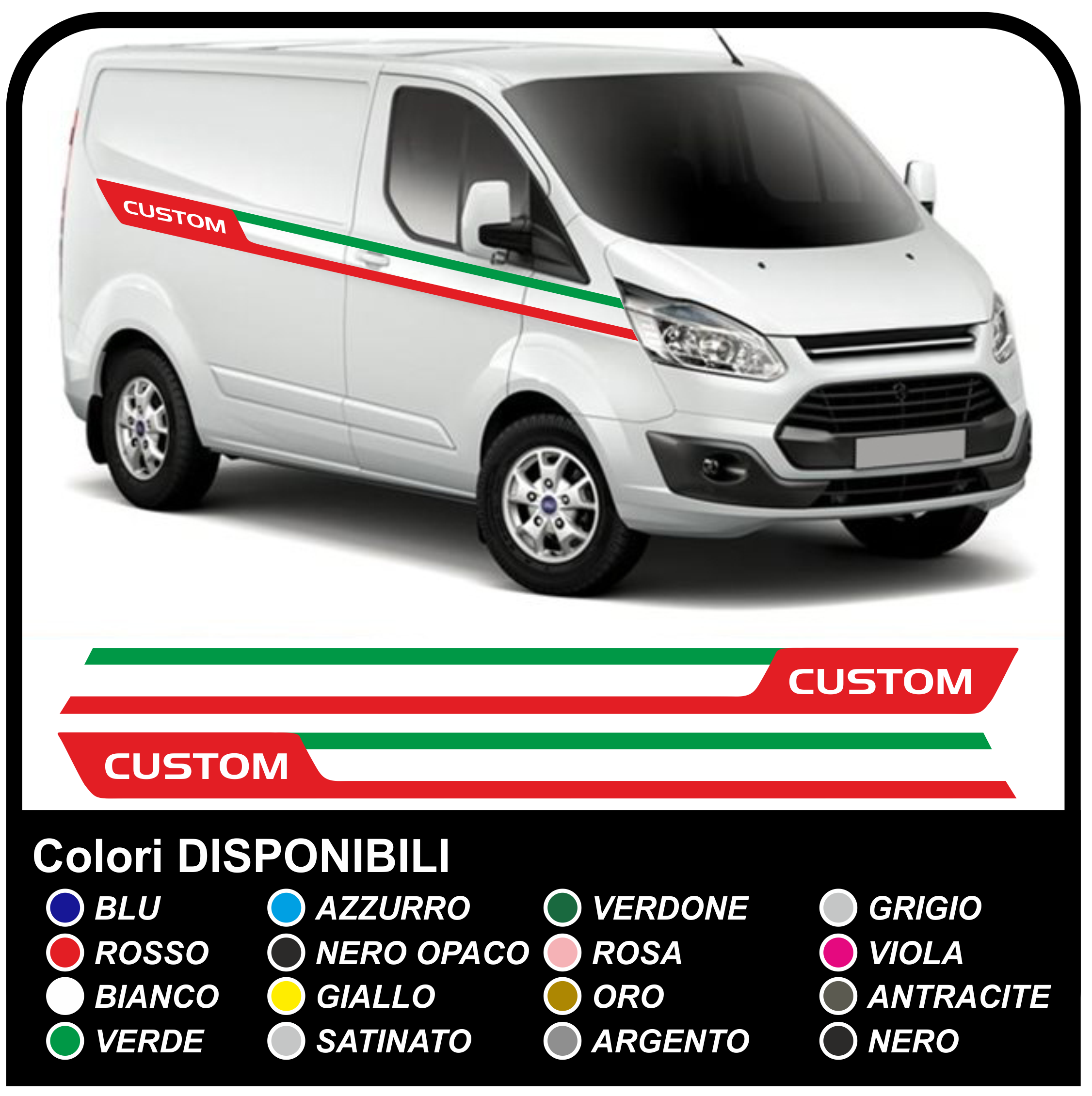Adhesives Transit M Sport Side Tricolor Van Graphics Van Stickers Decals Stripes Ford Transit Custom Turneo Italy