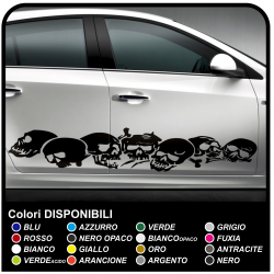 SKULLS stickers aggressive front side car, skull sticker cm 185 stripes car Tribal