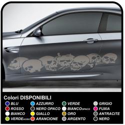 Adesivi Teschi per fiancate auto, strisce cranio adesive cm 185 per laterali auto Tribal