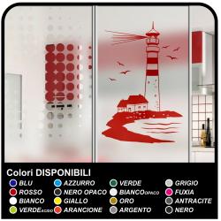 PHARE Sticker pour salle de bain douche PHARE MARITIME avec la maison de cm 58x90 Stickers muraux pour mur, porte, cuisine,