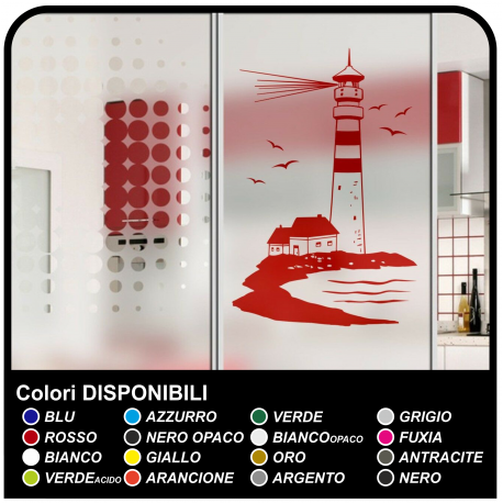 El FARO de la etiqueta Engomada para la ducha cuarto de baño FARO MARÍTIMO con casa de cm 58x90 vinilos decorativos para pared,
