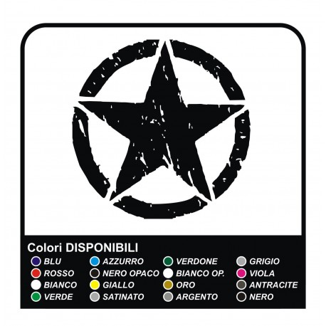 Sticker STAR cm 40 Jeep CJ CJ3 CJ5 CJ7 CJ8, US ARMY star military 4X4