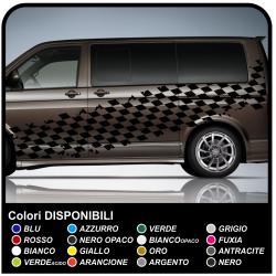 Adesivi laterali scacchiera effetto consumato Racing 350cm bandiera a scacchi per auto bus e furgoni