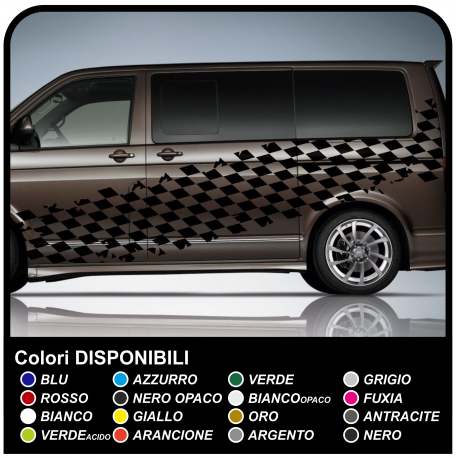 Adhesive side checkerboard worn effect Racing 350cm checkered flag for car, bus and vans