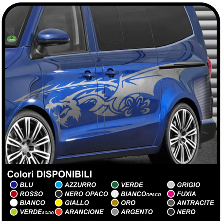 Adhesive side DRAGON Tribal tuning 250cm side stripes Stickers Tribal Tuning size cm 250 for vans, buses and cars