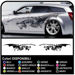 Adesivi DRAGO fasce laterali adesive per auto furgoni camper 250cm strisce laterali Tribal Tuning adatte anche per furgoni