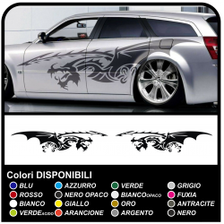 Stickers DRAGON side bands of adhesive for cars, vans, motorhomes 250cm side stripes Tribal Tuning also suitable for vans