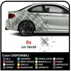 Adhesive side lines for graphics sports car, stickers to sides, bonnet and side car, Tuning Decor